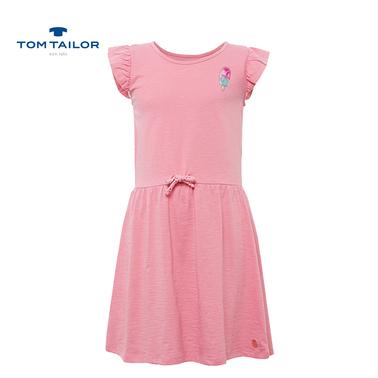 Трикотажна рокля Tom Tailor със сладолед от пайети розова