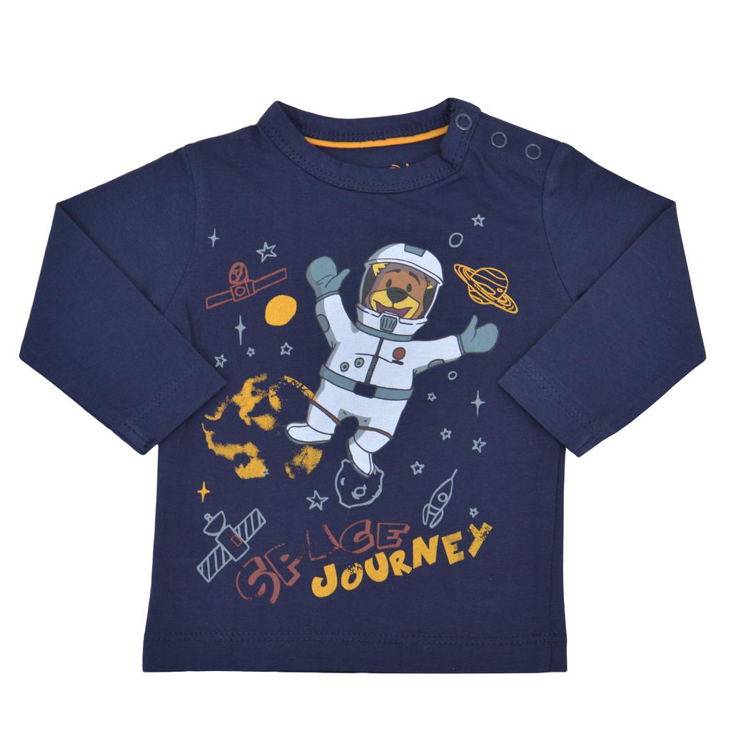 Блузка дълъг ръкав с мечо-астронавт тъмно синя