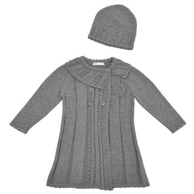 Детска жилетка-манто в комплект с шапка с цвете сив