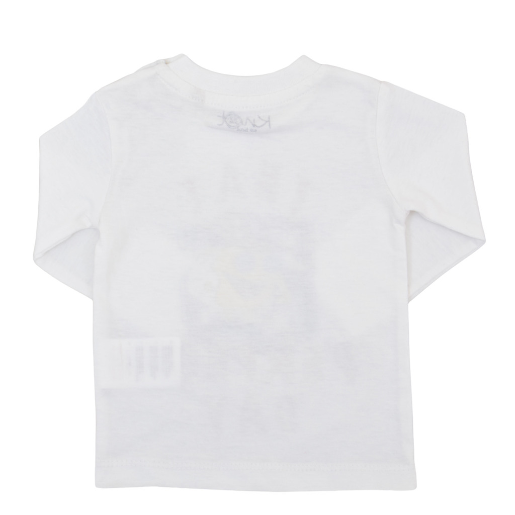 Блуза дълъг ръкав с емотикон бяла