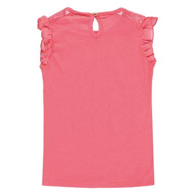 Тениска Tom Tailor с къдри и мрежа корал