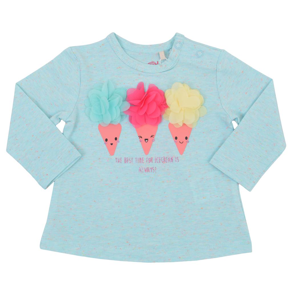 Блуза с пъстри 3D сладоледи от тюл в резеда