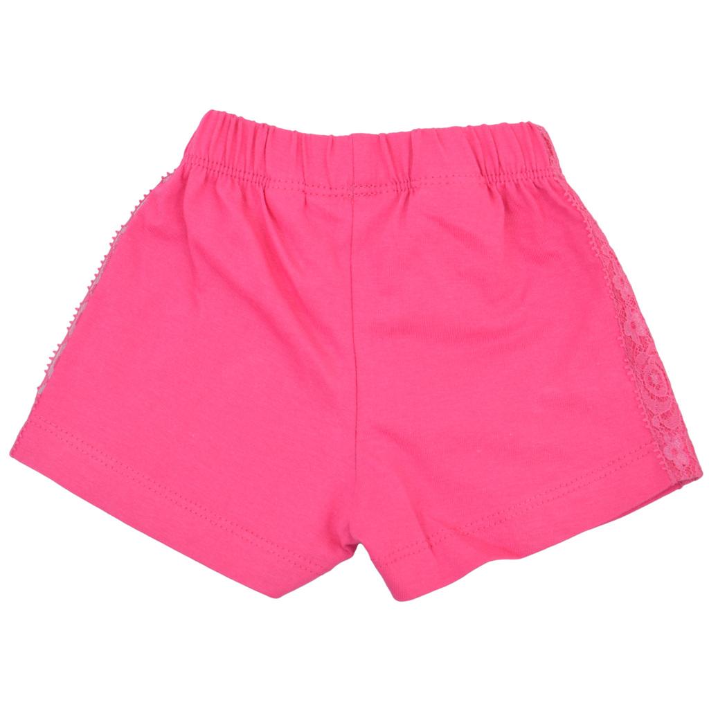 Трикотажни къси панталонки с дантелка и ластик циклама