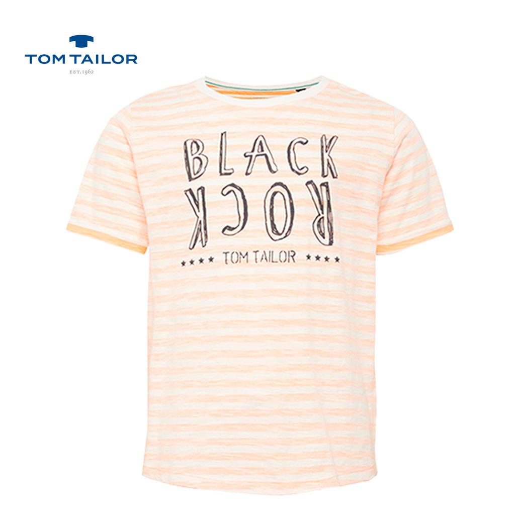 Блуза Tom Tailor на райета с надпис оранжева