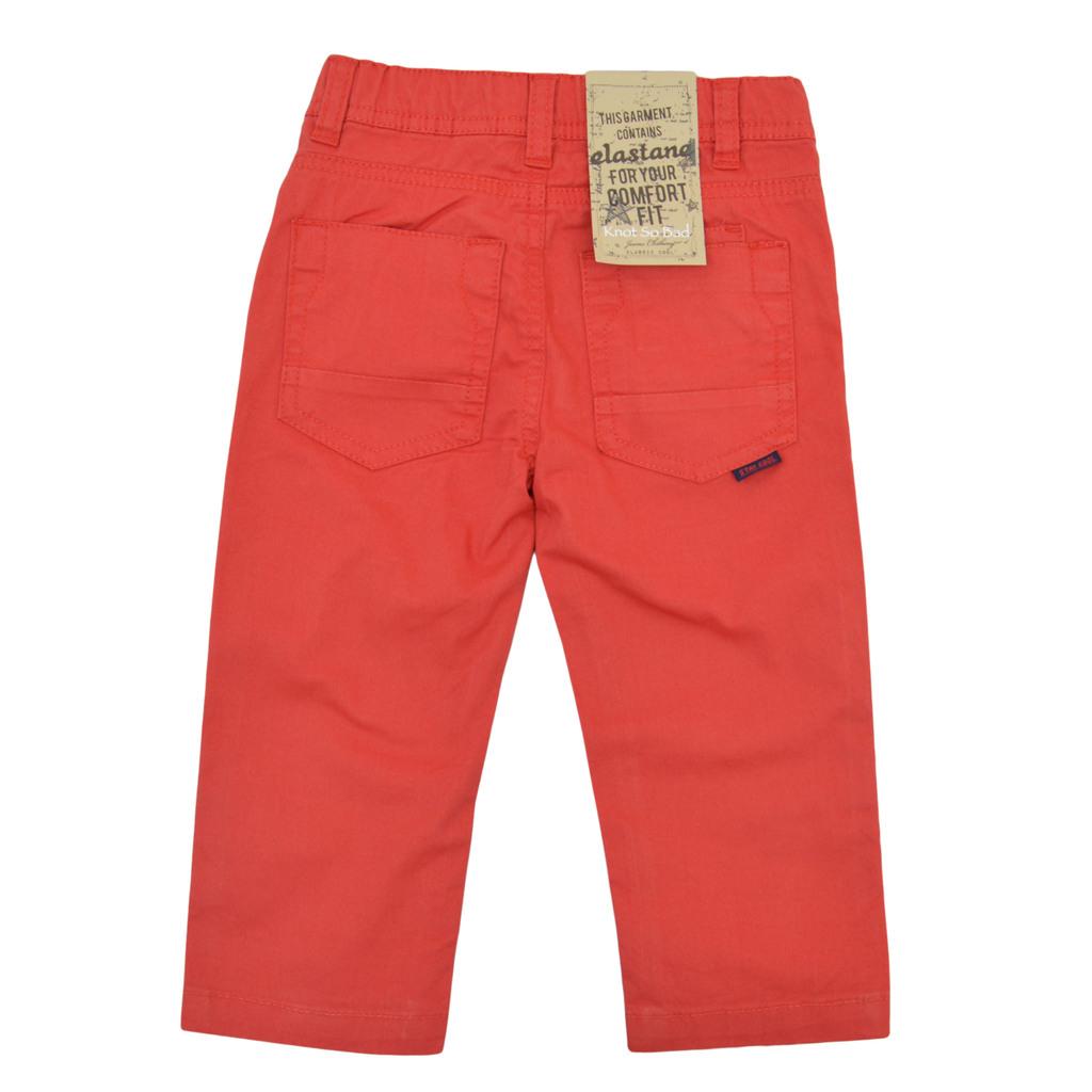 Панталон с широк крачол в класическа кройка червен