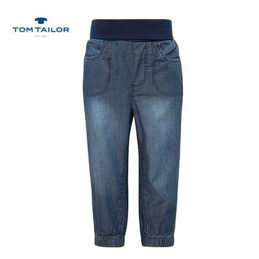 Спортни дънки Tom Tailor с широк колан сини
