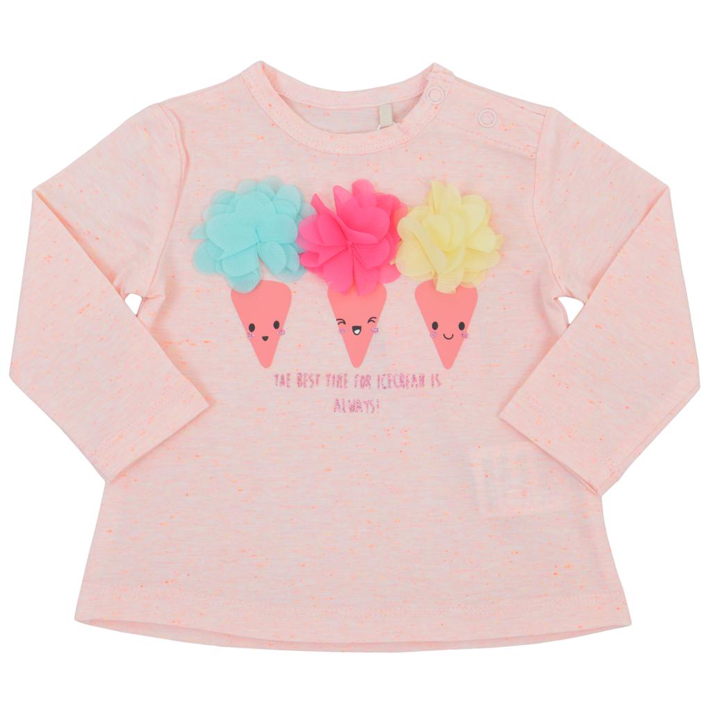 Блуза в прасковен цвят с пъстри 3D сладоледи от тюл
