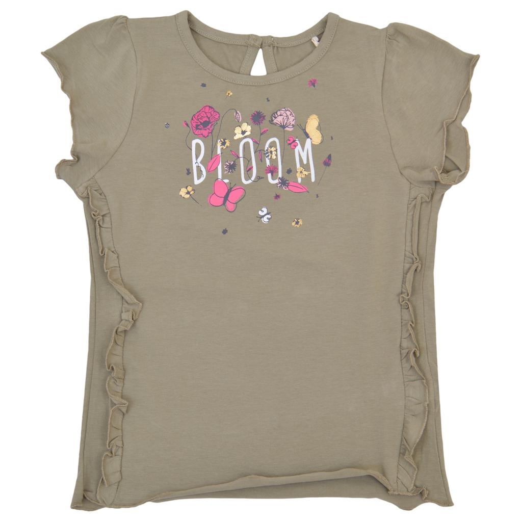 Елегантна блуза къс ръкав с къдри и флорална щампа в каки