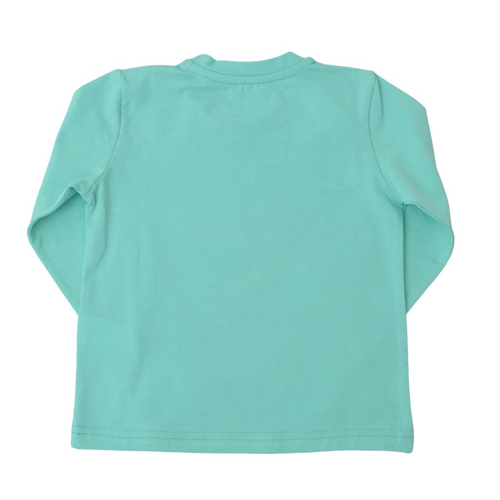 Детска блуза с дълги ръкави с маймуна зелена