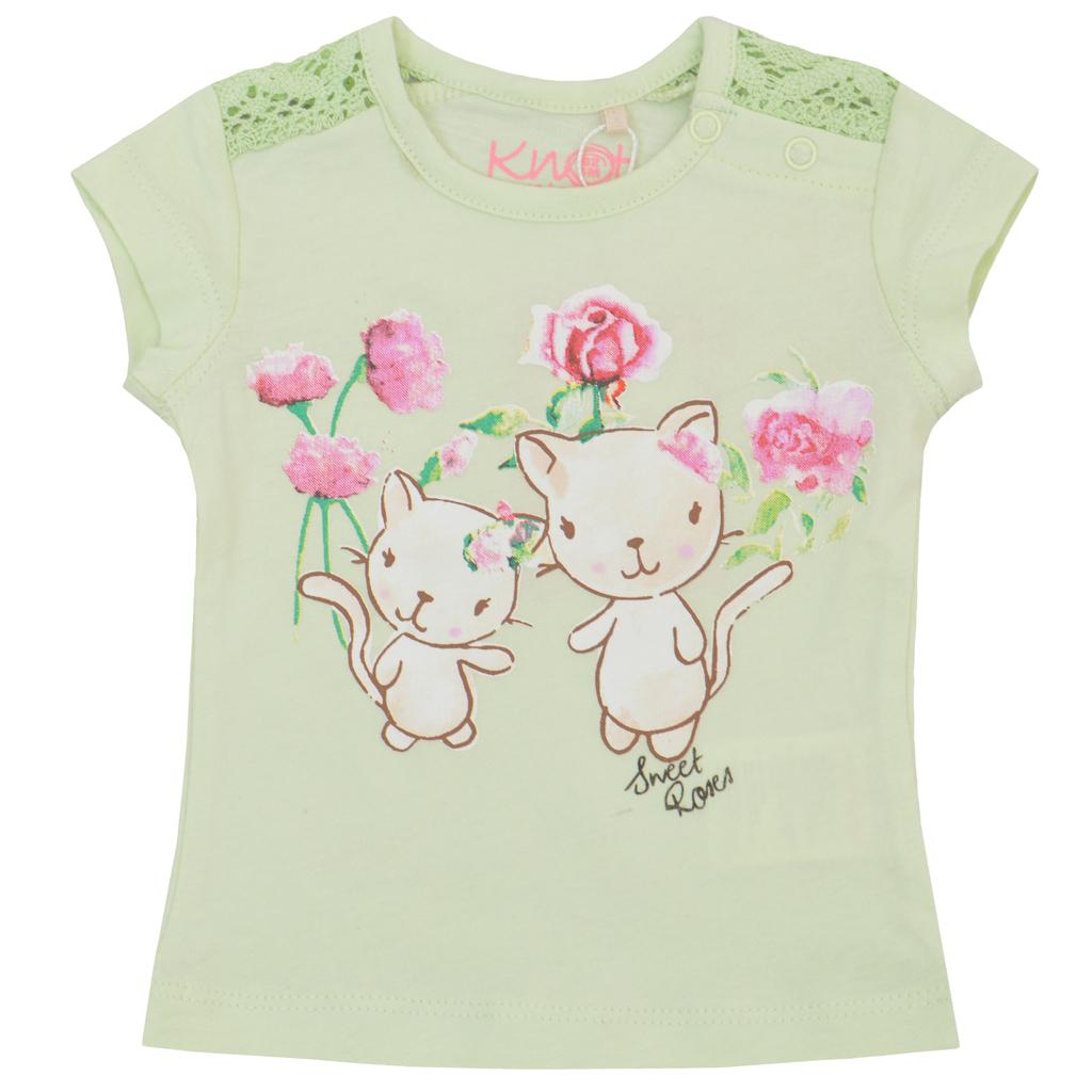 Бебешка блуза с котета и дантели зелена