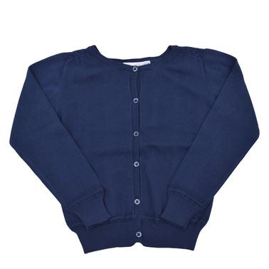 Жилетка от памучно плетиво с дупчест гръб тъмно синя