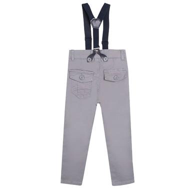 Изчистен панталон с тиранти и джобове от Newness сив