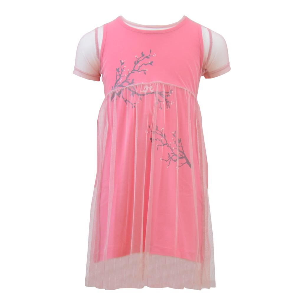 Лятна рокля 2в1 от тюл и трико с щампа в цвят малина