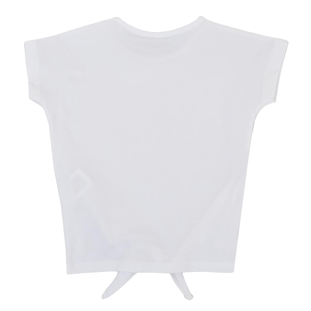 Тениска с възел и светкавици от пайети в бяло