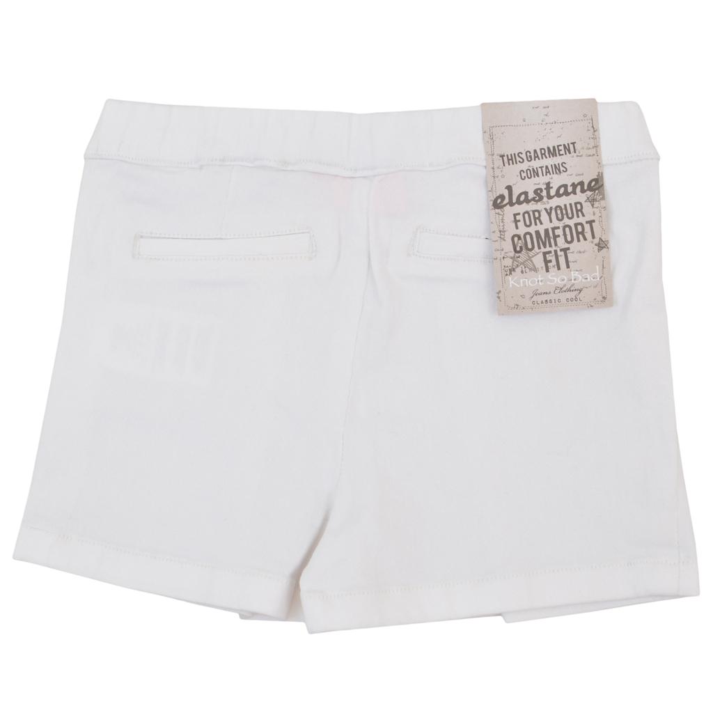Елегантни къси панталонки с камъчета и басти бели
