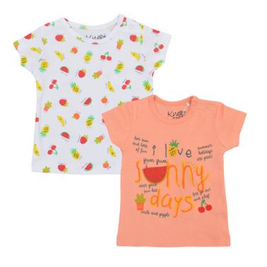 Комплект тениски с плодове и брокат корал