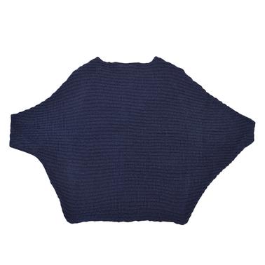 Шикозен къс пуловер без ръкав от акрил тъмно син