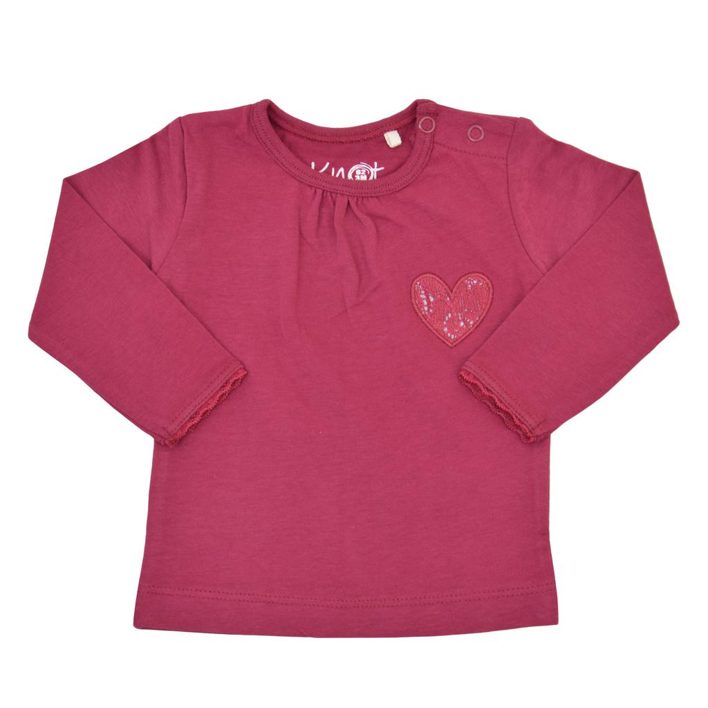 Блузка дълъг ръкав с набор и дантелено сърце боровинка