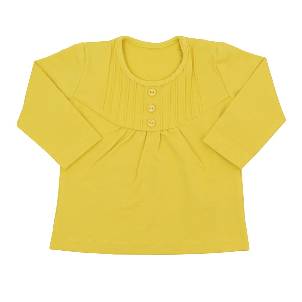 Блуза дълъг ръкав с нервюри и копчета тъмно жълта