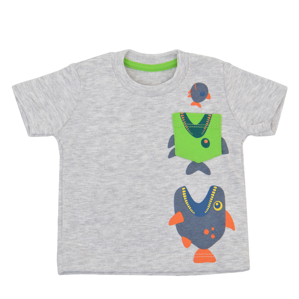Тениска с лакоми рибки и джобче сив меланж