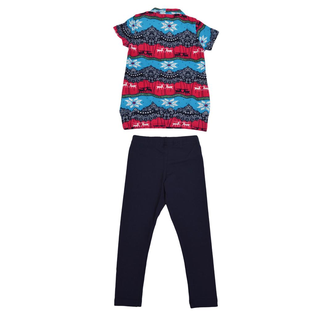 Комплект цветна туника с къс ръкав и клин в синьо