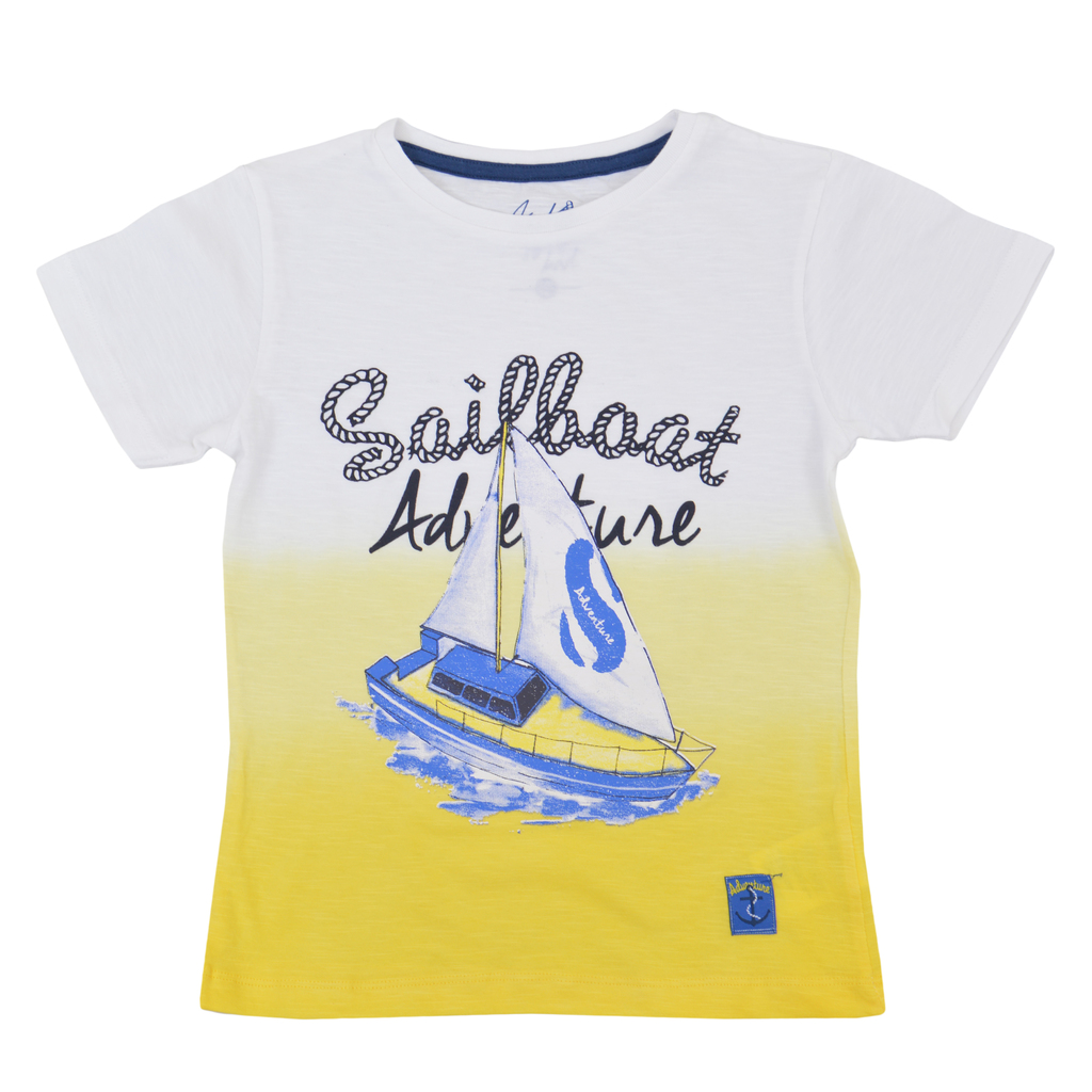 Тениска в преливащи цветове в жълто с щампа платноход