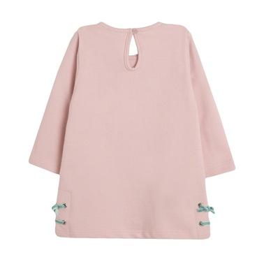 Трикотажна рокля Newness с щампа момиче и връзки розова