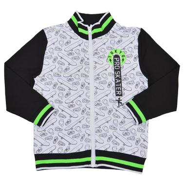 """Суитшърт """"Tokyo skater"""" с щампи и ярък ластик в зелено"""