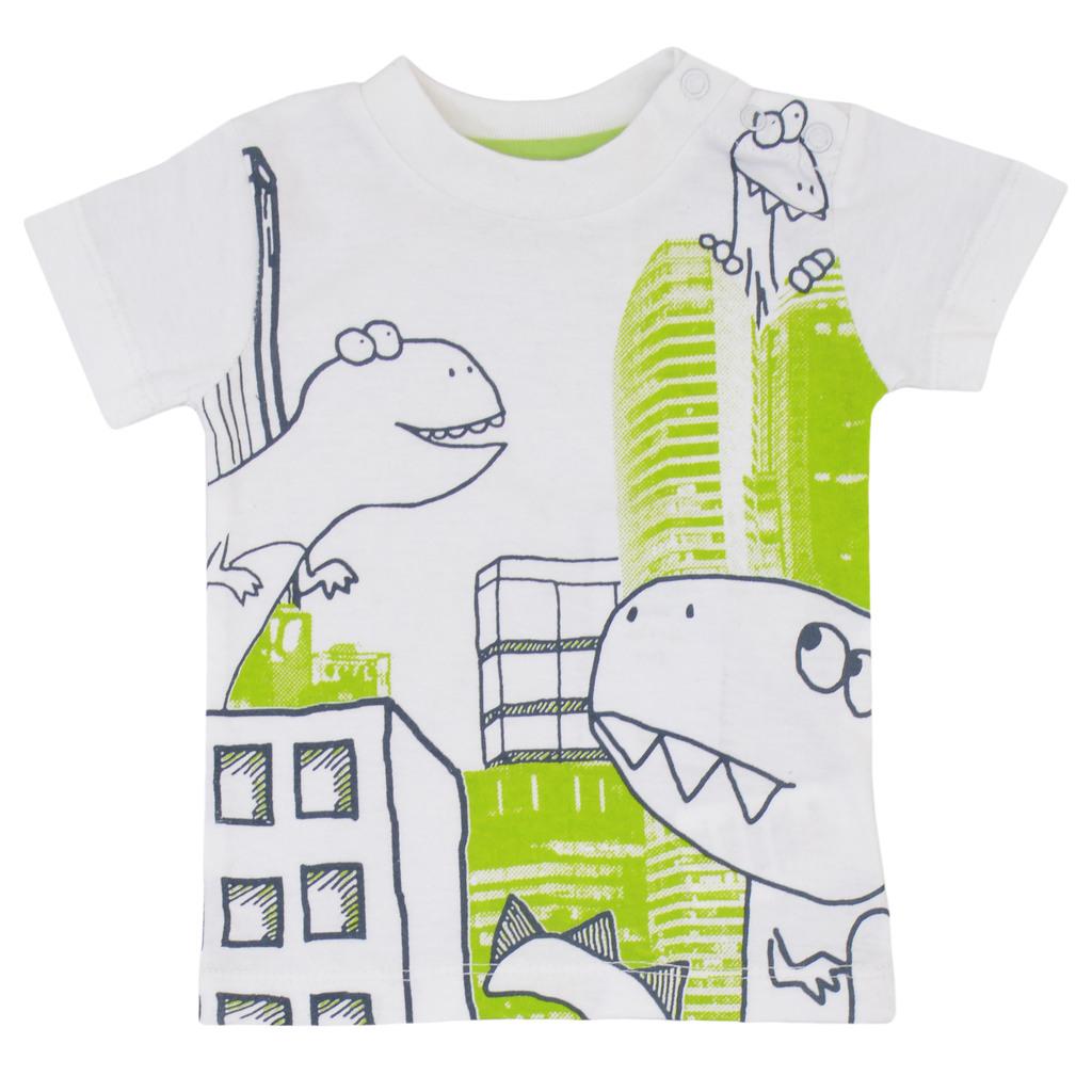 Комплект тениска и къси панталонки с динозаври тъмно син