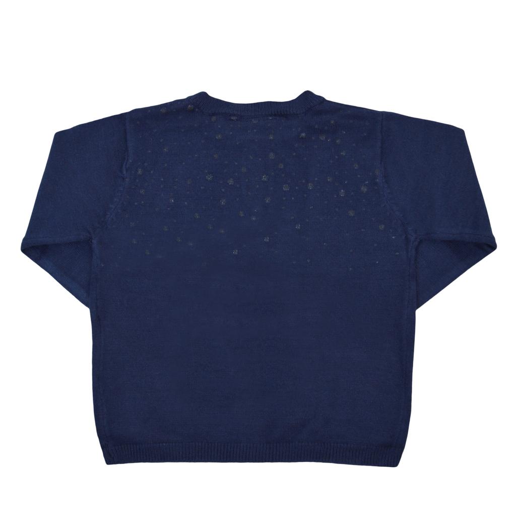 Мека плетена жилетка с брокат тъмно синя
