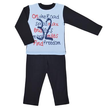Детска есенна пижама с надписи тъмно синя
