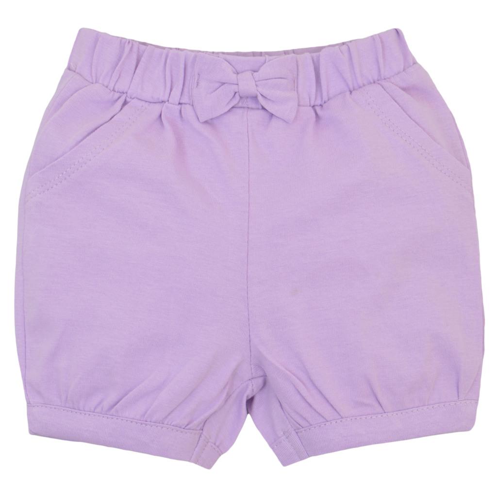Къси панталонки от трико с панделка бледо лилави