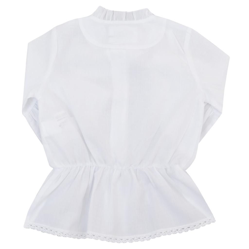 Риза с къдрици и 3/4 ръкав с волан бяла