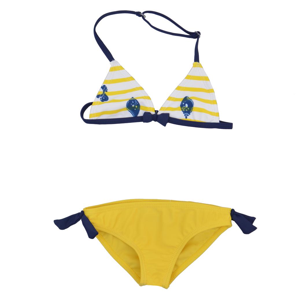 Детски бански в две части с райе и мидички жълт