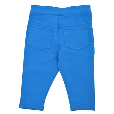 Трикотажен панталон с копче и джобове в индиго