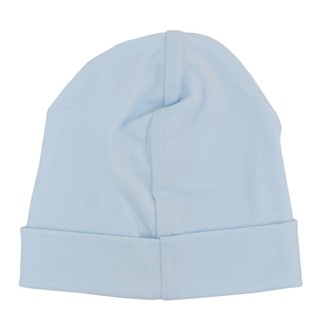 Трикотажна памучна шапка с лого ''Точици''  светло синя