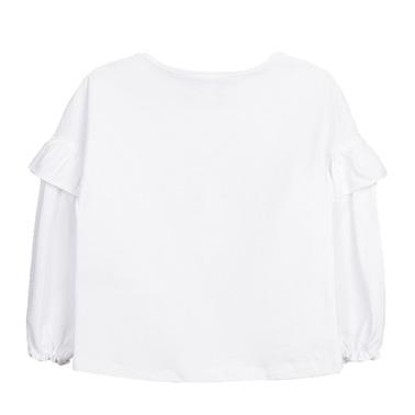 Блуза с двоен ръкав с волан и щампа Newness бяла