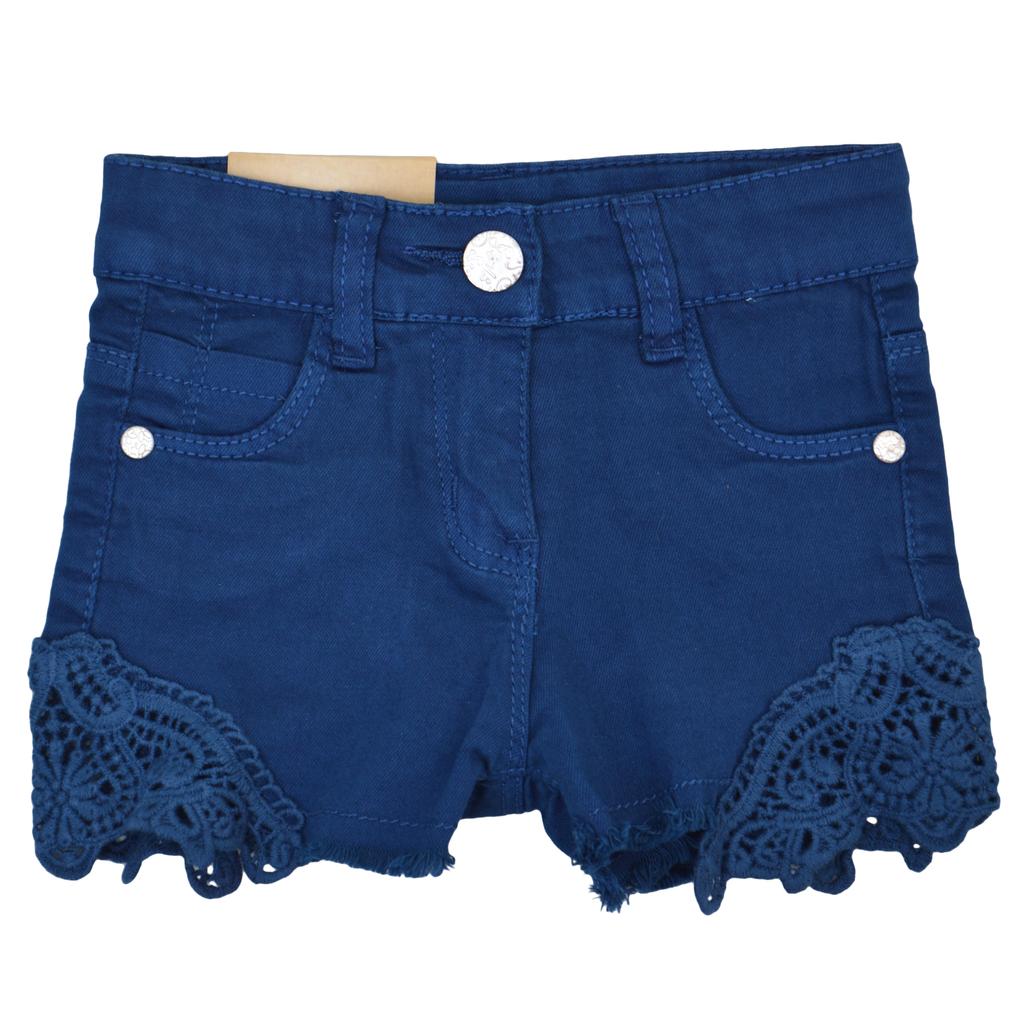 Детски къси панталони с дантела тъмно сини
