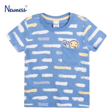 Тениска с джоб и цветни черти от Newness в синьо