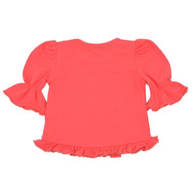 Блуза с 3/4 ръкав, волани и ананас в цвят диня
