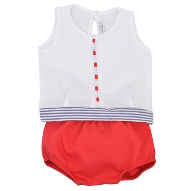 Комплект блуза без ръкав с панделка на талията и гащи-балон червен