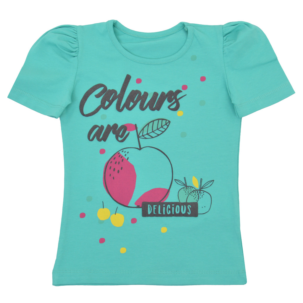 Елегантна тениска с ябълки и релефни надписи резеда