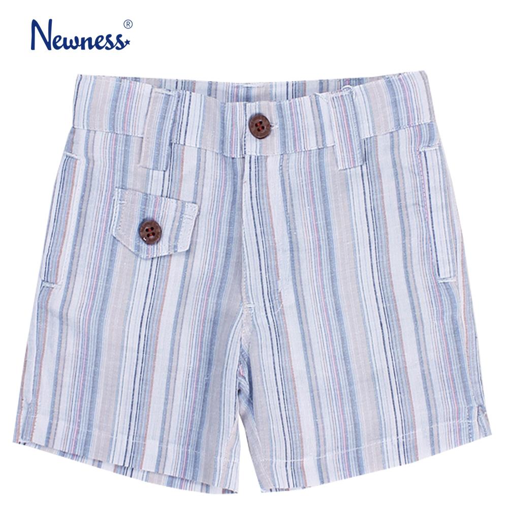 Къси панталони Newness на райета светло сини