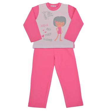 Детска пижама с щампа момиче в розово