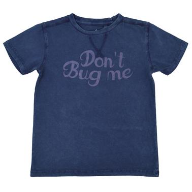 """Тениска с щампа """"Don't Bug Me'' и декоративни тегели тъмно синя"""