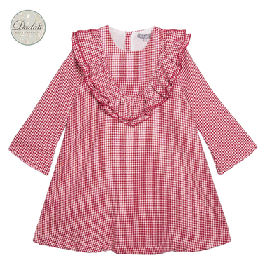 Пепитена рокля Dadati с ''V''- образно деколте с волани червена