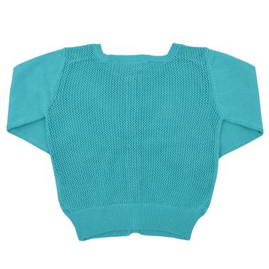Мека плетена жилетка с гръб на дупки електрик