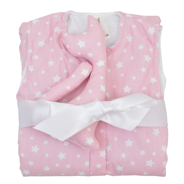 Чувалче на звездички с играчка котенце за гушкане в розово