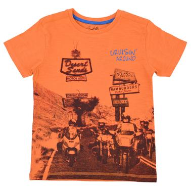 Тениска с щампа на мотористи оранжева
