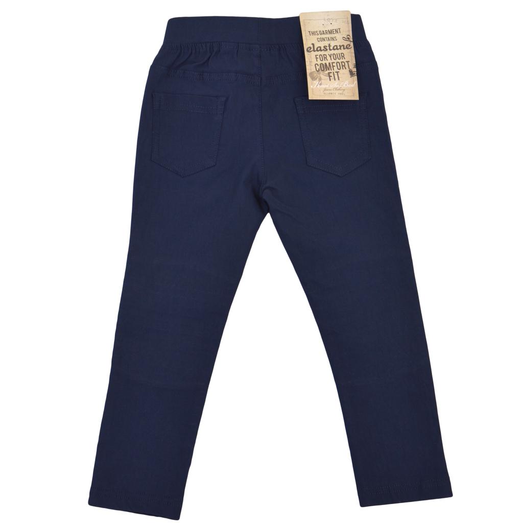 Детски елегантен еластичен панталон с нервюри тъмно син